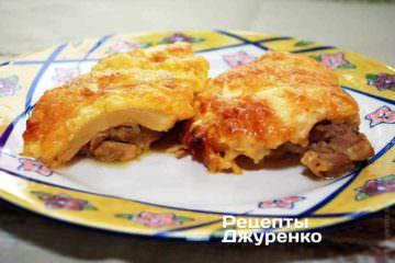 Фото рецепта курица с ананасом под сыром