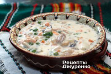Фото рецепта крем-суп з морського коктейлю