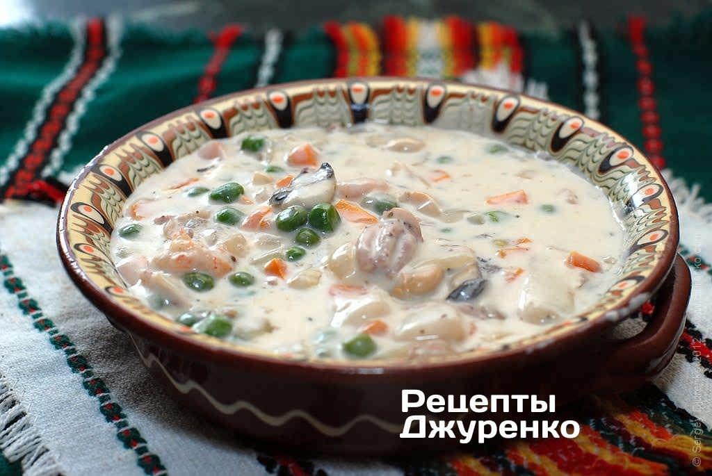 Крем-суп из морского коктейля