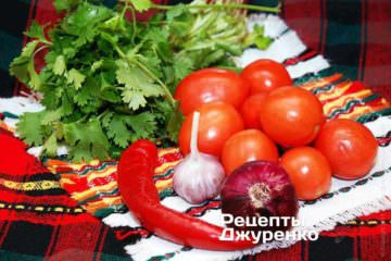 Інгредієнти в гострий салат