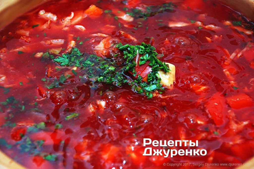 Як приготувати Український борщ. Крок 20: Крок №10: Дрібно нарізаний кріп
