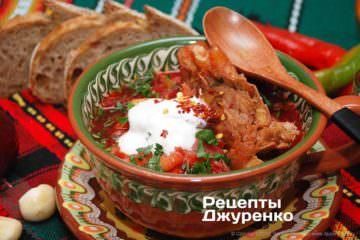 Як приготувати Український борщ. Крок 24: Крок №11: Готова страва зі сметаною
