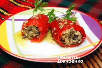 Фото рецепта перец фаршированный грибами