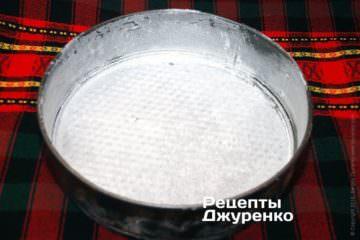 Форму для выпечки смазать растительным маслом и посыпать мукой