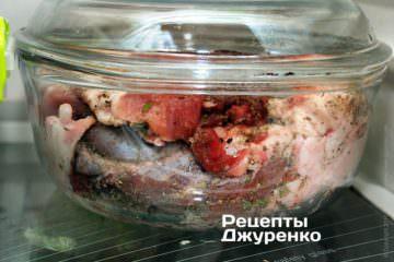 Поставить мясо на 3-4 часа в холодное место