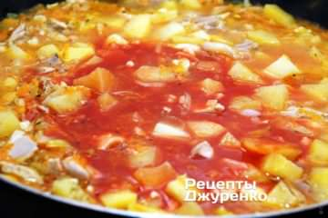 Коли курка з картоплею практично готова, додати томатний сік