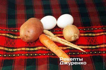 Картопля, коріння, яйця