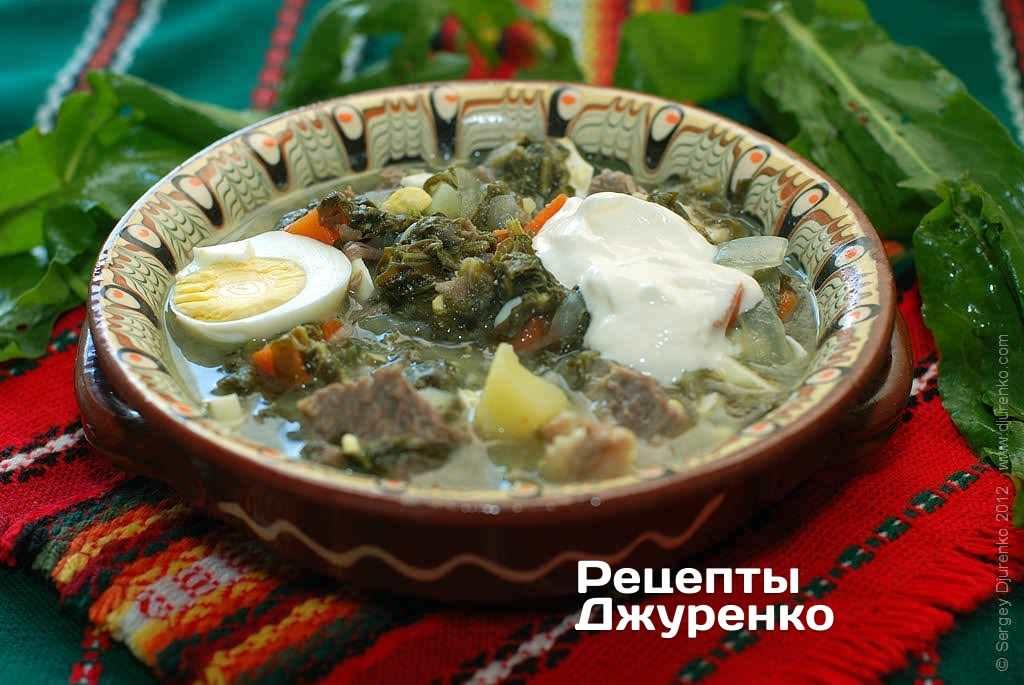 Зеленый борщ с щавелем и яйцом два рецепта с фото