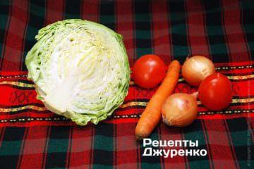 Молодая капуста и овощи
