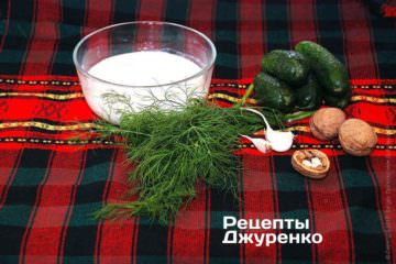 Ингредиенты: кислое молоко, укроп, огурцы
