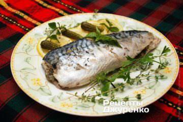 Фото до рецепту: скумбрія запечена в фользі