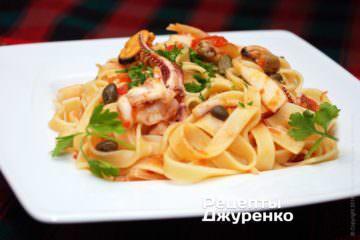Фото рецепта локшина з морепродуктами