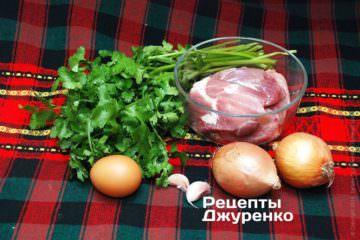 Свинина, зелень, овощи для кебаба
