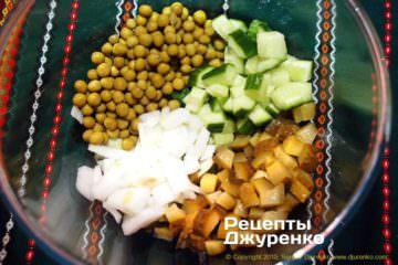 Как приготовить Салат оливье. Шаг 6: горошек в салате