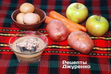 Овощи, рыбные консервы, яйца и яблоки