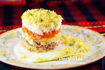 Фото рецепта салат мимоза с сардиной