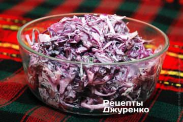 Фото рецепта салат из краснокочанной капусты