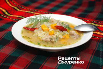 Фото рецепта суп зі свинини