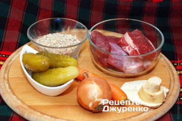 Розсольник: М'ясо, крупа та овочі