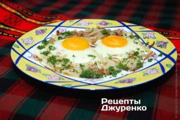 Фото рецепта яєчня з цибулею