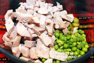 Додати нарізане м'ясо