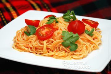 Фото до рецепту: спагетті з томатами