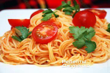 Выложить спагетти на тарелку