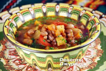 Фото рецепта суп из фасоли без мяса