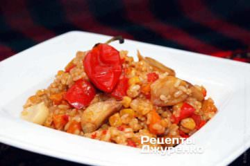 Фото рецепта коричневый рис с овощами