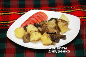 Фото рецепта печена картопля з грибами