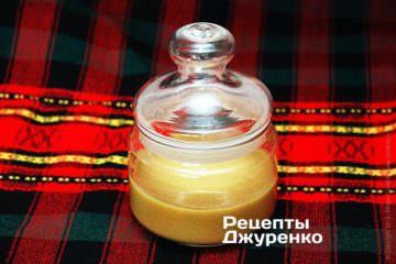 Переложить горчицу в баночку, герметично укупорить и поставить в холодильник