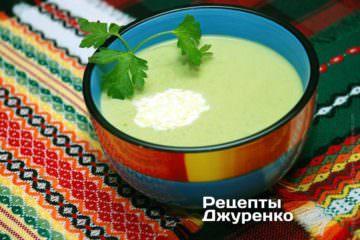 Фото рецепта крем суп із зеленого горошку