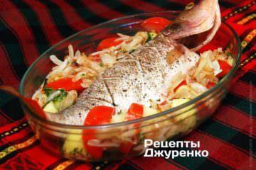Выложить дольки помидора и жареный лук