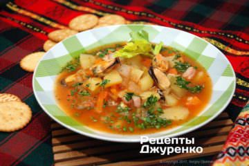 Фото рецепта суп из мидий