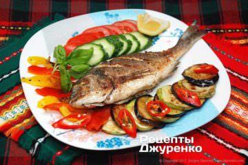 Фото до рецепту: запечена риба з овочами
