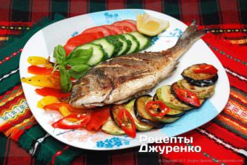 Фото рецепта запеченная рыба с овощами