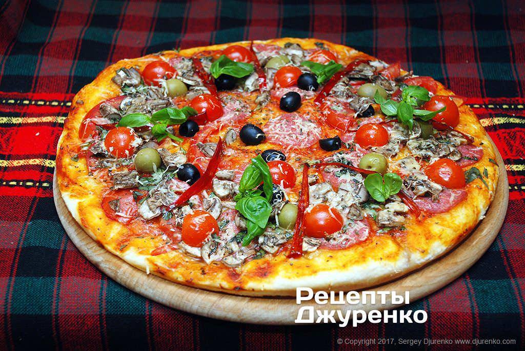 Вкусная пицца с колбасой в духовке рецепт 47