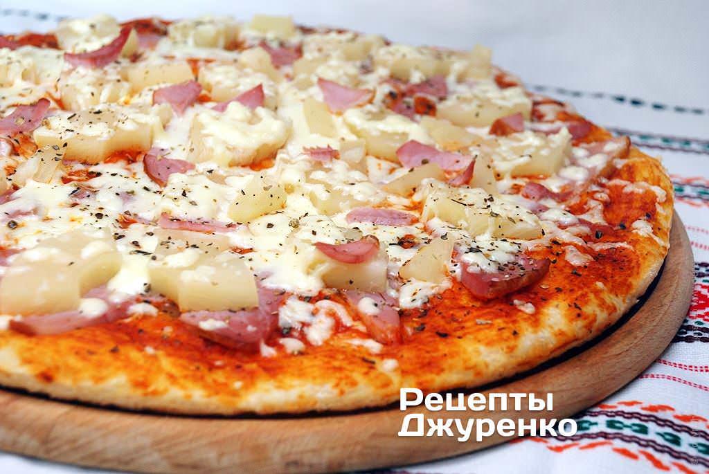 рецепты пиццы с ананасами колбасой и сыром
