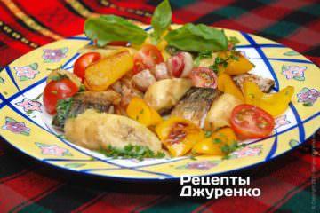 Фото до рецепту: риба з овочами і фруктами