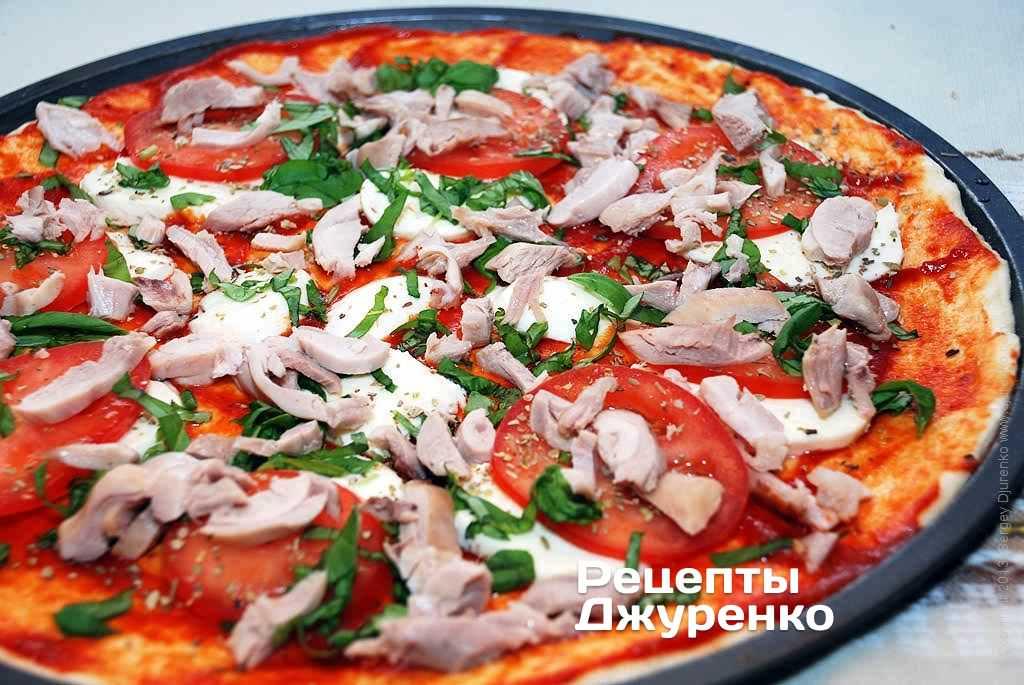 Пицца из куриного филе