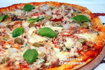 Фото рецепта нежная пицца с курицей