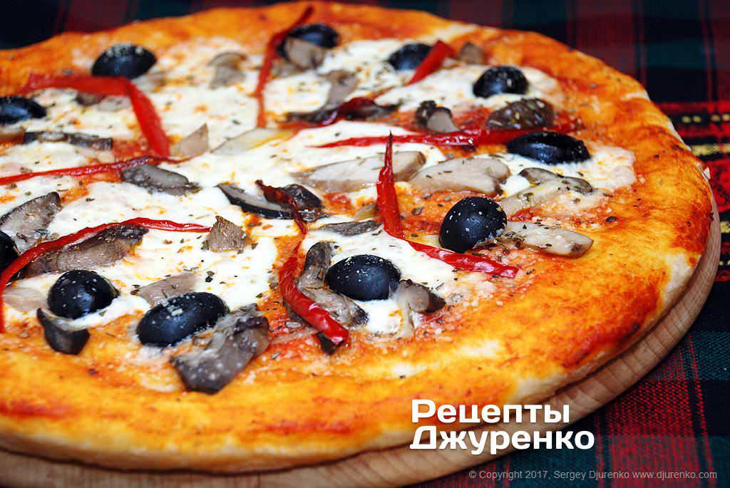 Фото готового рецепта грибная пицца в домашних условиях