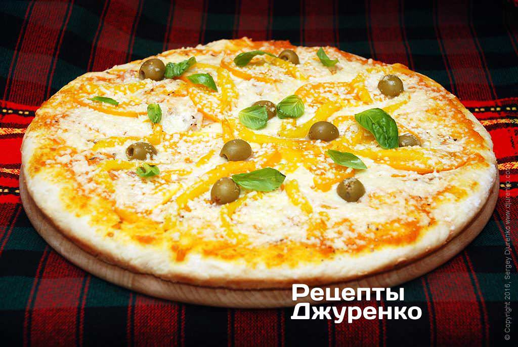 Фото готового рецепта вегетарианская пицца в домашних условиях