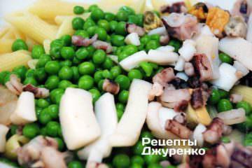 Змішати пасту з моредоктамі і горошком