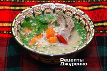 Фото рецепта суп з ребрами
