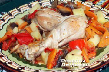 Фото рецепта тушеная курица с овощами