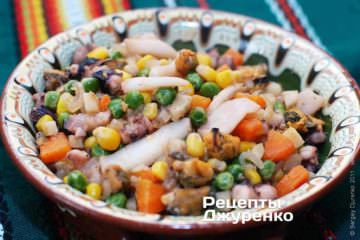 Фото до рецепту: морепродукти з овочами