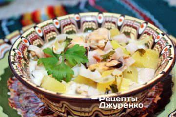 Суп з мідій зі шкварками