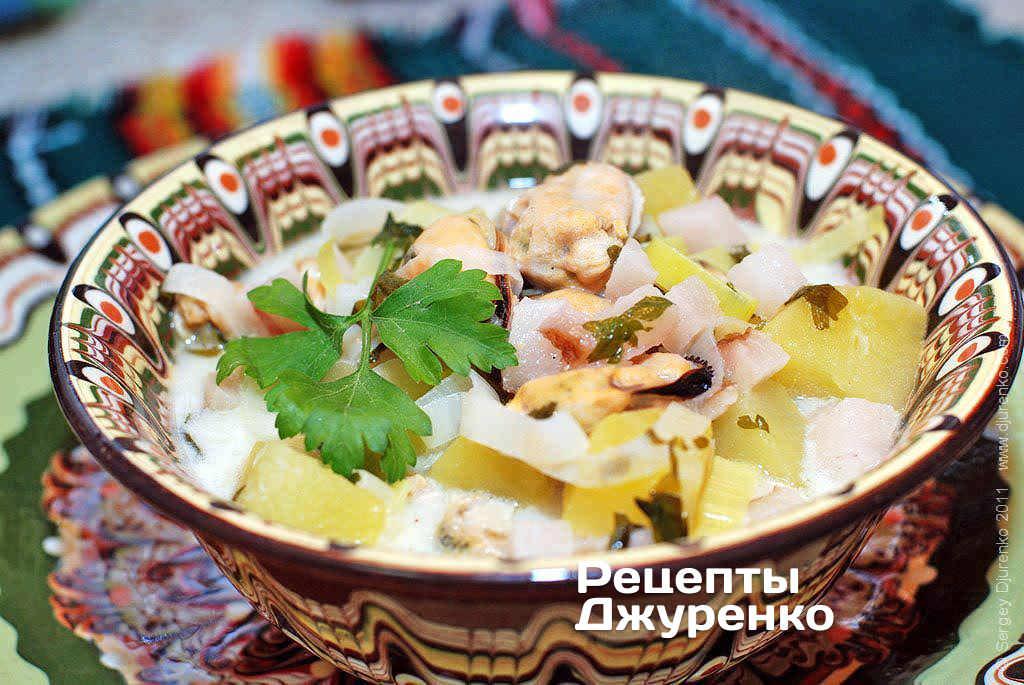 Суп з мідіями і вершками
