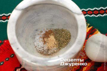 Змішати спеції: сіль, мускатний горіх, імбир, перець